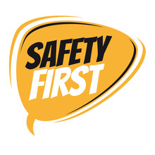 Safety First Retro Speech Bubble