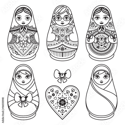 Photo Matryoshka. Babushka doll. Set