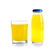 Bottle and glass with delicious juice on white background