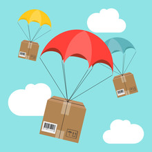 Delivery Service. Parachute With Parcel In The Sky. Shipping, Delivery Concept. Flat Design. Vector Illustration
