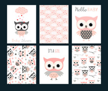 Cute Vector Set With Invitation Templates Or Greeting Cards For Baby Girl Showers And Birthday Parties For Girls