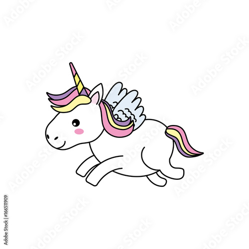 Garden Poster Fairytale World cute unicorn with horn and wings design