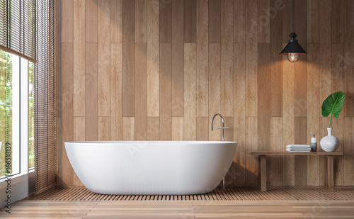 Fotomural  Modern contemporary bathroom 3d rendering image