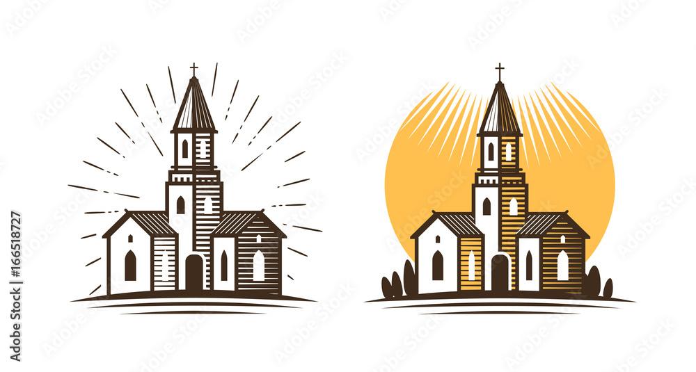 Fototapety, obrazy: Church logo. Religion, faith, belief icon or symbol. Vector illustration