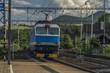 Trains in Prackovice station near river Labe