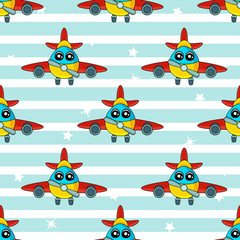 Tapeta Cute kids pattern for girls and boys. Colorful aircraft on the abstract bright background create a fun cartoon drawing.The background is made in blue colors.Urban backdrop for textile and fabric