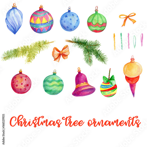 christmas tree ornaments new year winter holidays winter decor watercolor clip art