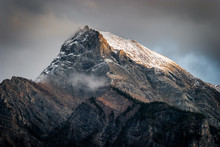 Fresh Snow On A Mountain Peak In The Canadian Rockies, British C