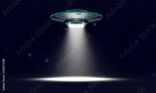 Fotografering Vintage UFO isolated on black. 3d illustration