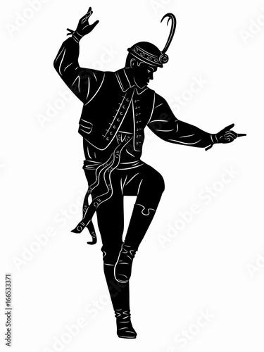 Fotografia  illustration of folklore dancer, vector draw