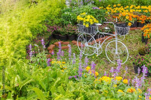 Deurstickers Fiets In cozy home garden./ Vintage white bike planter in home flowers garden on summer.