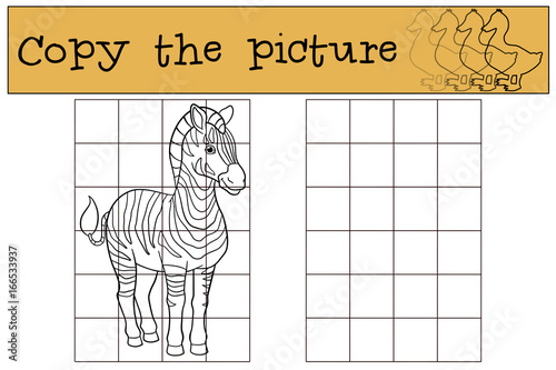 Fotografie, Obraz  Educational game: Copy the picture. Cute beautiful zebra.