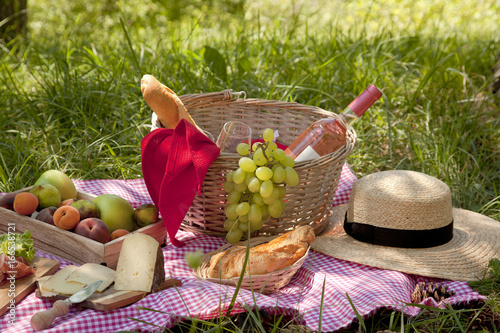 Keuken foto achterwand Picknick Picnic at the park on the grass: tablecloth, basket, healthy food, rose wine and accessories