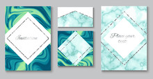 Wedding Invitation Background Set, Marble Brochure Layout, Color Business Card Template Or In Trendy Minimalistic Geometric Style, With Blue Green Stone, Granite, Turquoise Textures, Vector Poster