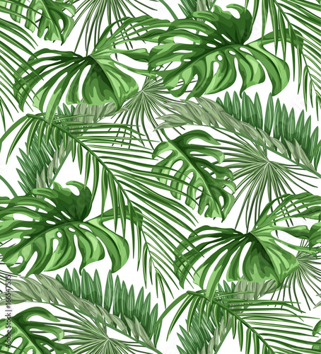 Leinwand Poster Vector tropical leaves seamless pattern