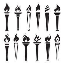 Vector Of Fire Torch Victory Champion On White Background. Flame Icons Set.