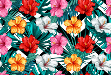 Vector tropical leaves, hibiscus seamless pattern