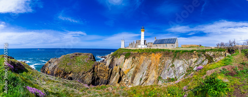 Poster de jardin Con. Antique Panorama of lighthouse and ruin of monastery, Pointe de Saint Mathieu, Brittany (Bretagne), France