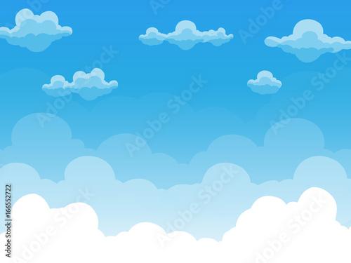 Tuinposter Hemel Group of clouds on blue sky, background of cartoon view, vector