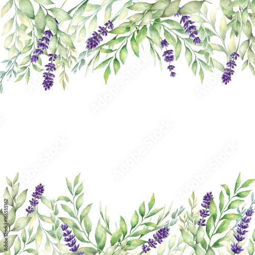 Dekoracja na wymiar watercolor-hand-drawn-lavender-and-green-leaves-card-template-template-for-save-the-date-birthday-cards-wedding-invitations