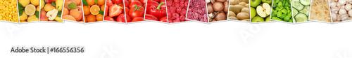 Poster Légumes frais Obst und Gemüse Früchte Apfel Tomaten Farben Orangen Zitrone Banner Textfreiraum