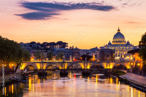 Plagát  Vatican City, Rome, Italy, Beautiful Vibrant Night image Panorama of St
