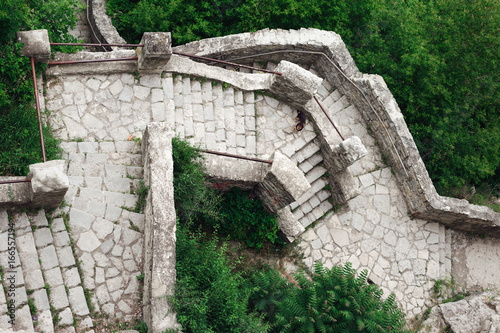 Top view of an old stone staircase