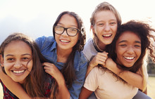 Four Teenage Girls Having Fun ...