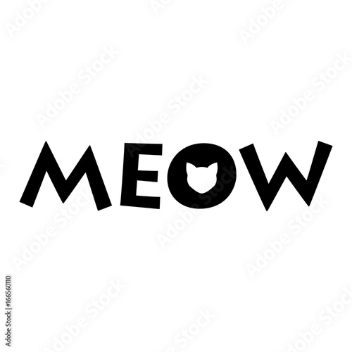 Logotipo MEOW con cabeza gato en o negro en fondo blanco Wallpaper Mural