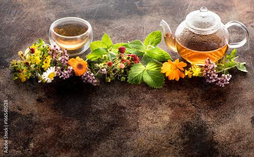 Fototapeta Herbal tea, fresh herbs and flowers. Herbal medicine..Copy space for text obraz