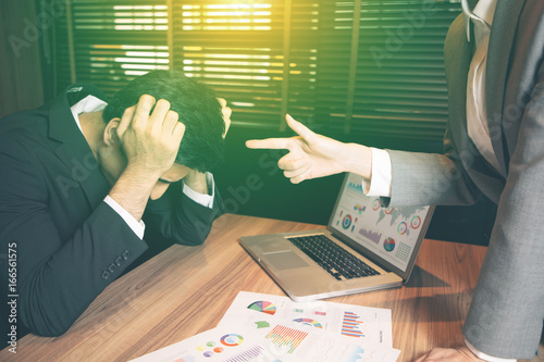 Fototapeta Young businessman being reprimanded. obraz