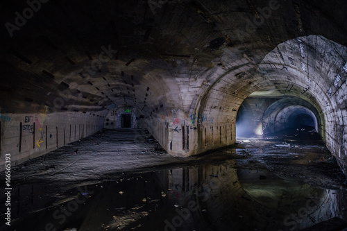 Photo  Bifurcate tunnel at the Object 221, abandoned soviet bunker, reserve command pos