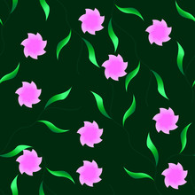 Seamless Water Flowers Pattern On Green Background