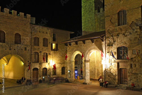 Fotografie, Obraz  San Gimignano at night, Italy