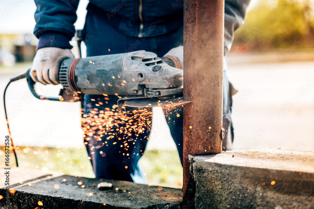 Photo Art Print Details Of Worker Using Electric Angle Grinder