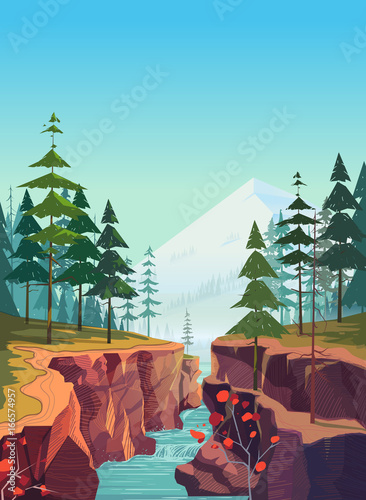 Aluminium Prints Blue Canyon background, natural landscape graphics for your design.