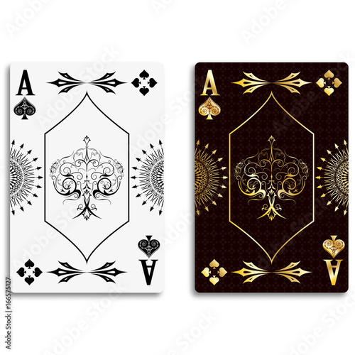 Ace of spades in classic black and golden color Canvas Print