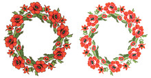 Frame Flowers Poppy Wreath