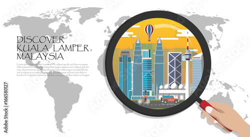 Travel infographic welcome to kuala lumpur malaysia infographic travel infographic welcome to kuala lumpur malaysia infographic world map with magnifying glass gumiabroncs Choice Image