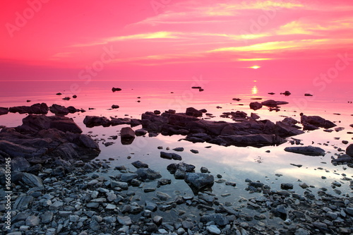 Keuken foto achterwand Candy roze Sundown at Rock coast, Lake Baikal, Russia