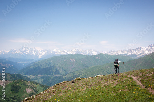 Fototapeta Trekking Caucasus from Mestia to Ushguli and via Latpari pass to Chvelpi in the Svaneti region of Georgia obraz na płótnie