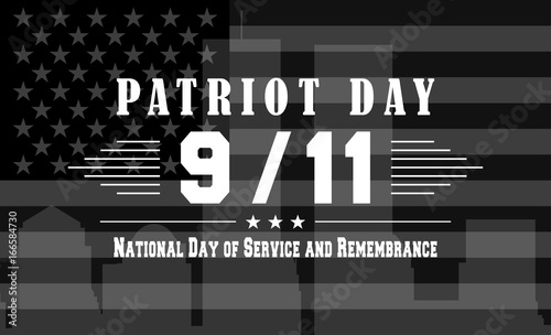 Photo  Vector Patriot Day dark background with National day of service and remembrance lettering
