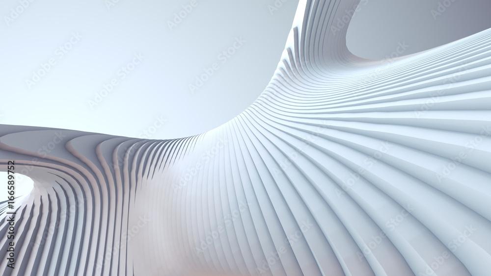 Fototapety, obrazy: White stripe pattern futuristic background. 3d render illustration