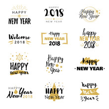 Happy New Year 2018 Typographical Design Set