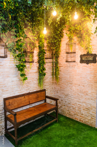 Photo wood sofa in backyard decoration