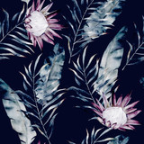 Watercolor african protea and tropical leaves pattern. Seamless motif with painted floral elements on black background for wrapping, wallpaper, fabric. Hand drawn illustration - 166592191