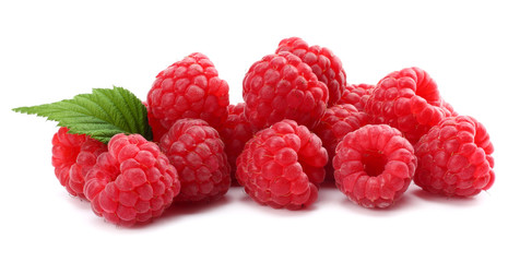 ripe raspberries with green leaf isolated on white background macro