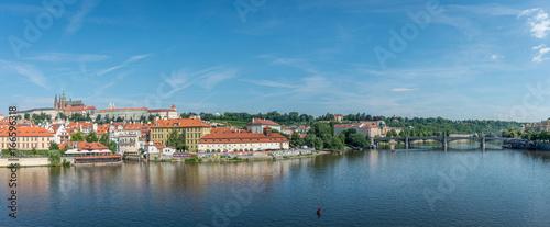 Obraz na plátně Prague and the river Moldava - panoramic view