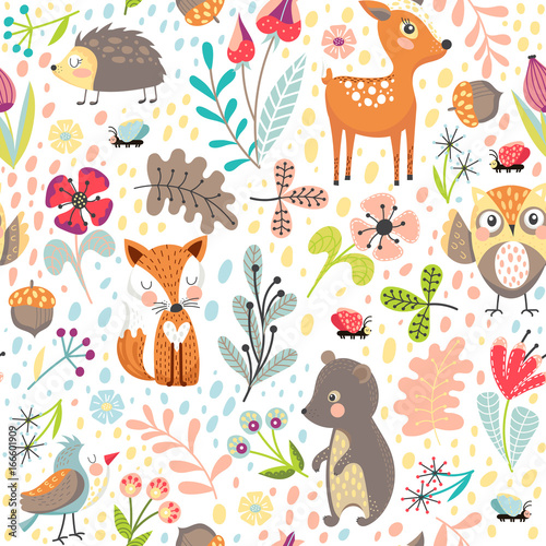 Cotton fabric Seamless background with forest animals