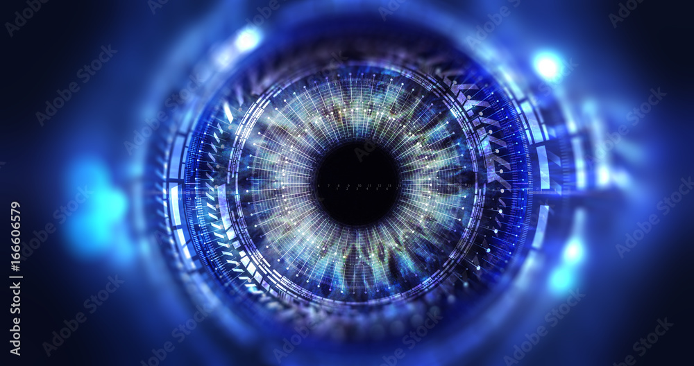 Fototapeta Security access  technology/Eye viewing digital information represented by circles and signs, background depth of field. Technology concept